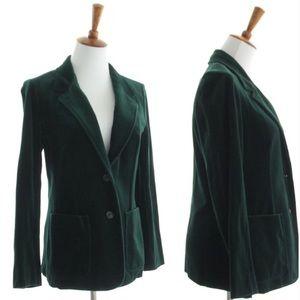 70s Vtg Forest Green Velvet Blazer XS Small